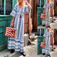 ZANZEA Women Bell Sleeve Bohemian Long Maxi Dress Summer Beach Party Shirt Dress