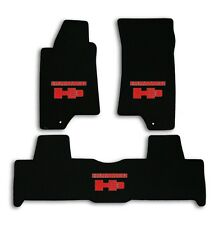 2007-2010 Hummer H3 - Black Classic Loop Carpet 3pc Mat Set - Red Hummer H3 Logo