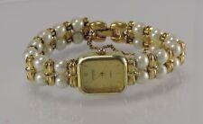 Vintage Descartes 3- Damenuhr / Quarz / vergoldet - mit Perlenarmband