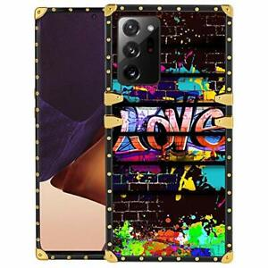 Square Samsung Galaxy Note 20 Ultra Case for Girls Women Graffiti Love Glitte...
