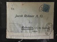1916 Malaga Spain Censored Cover to Rebstein Switzerland Alfredo Lechuga