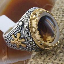 925 Sterling Silver Turkish Dendritic Yemeni Agate Stone Men Ring Size 12.25