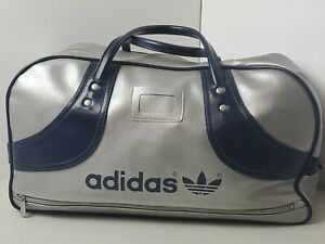Vintage 70S 80S Adidas Made In Hong Kong Pvc Gym Bag Silver Blue Trefoil