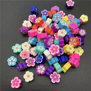 30pcs 10mm Flower Shape Spacer Beads Polymer Clay Loose Beads For Crafts Jewelry