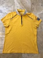 Armani Exchange AX Mens Polo Shirt Zip Front Patch Short Sleeve Cotton Yellow M