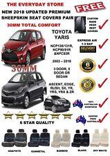Premium Sheepskin Seat Covers For Toyota Yaris 3/5 05-18 Pr Airbag Safe 30MM