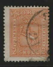 Norway Stamps 1867 SG24  2sk Orange-Buff Cat £80.00     Fine Used