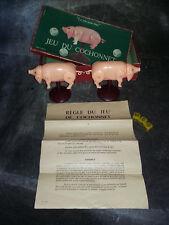 Ancien jouet jeu du cochonnet - complet- 3 dés - notice - pièces cochons - boite