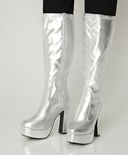 Silver Gogo Boots Womens Retro Knee High Platform Boots - Size 9 UK