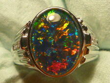Mens Opal Ring 14ct White Gold, Natural Opal Triplet 16 x 12mm Oval  item 120638