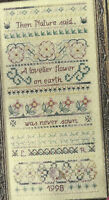 Flower Sampler Counted Cross Stitch Pattern chart from a magazine