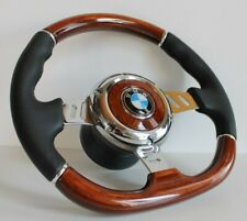 Steering Wheel BMW Wood Leather Flat Bottom E24 E28 E30 E32 E34 Wooden 1985-1991