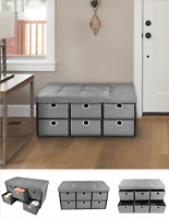 """Oversized Tufted Linen Grey Collapsible 6-Drawer Storage Ottoman - 15"""" x 30"""""""