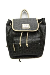 Guess Parkstreet,  Natural Brown Tan Signature Print Backpack Shoulder Bag