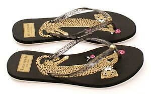 Kate Spade Black Nassau Leopard Thong Sandals Flip Flops Women's NEW