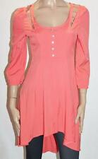 Paradisco Designer Coral 3/4 Sleeve Cut Out Low Back Dress Size S BNWT #ST36
