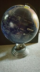 "BEAUTIFUL! Globemaster 12"" Diameter World Globe Dark Blue - ART DECO Metal Base"