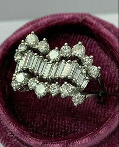 4.11 CT Diamond Women's Engagement & Wedding Wave Three Row Ring 14K White Gold