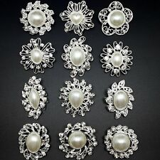 Lot 12pc Mixed Alloy Sliver Pearl Rhinestone Crystal Brooches Pins DIY Bouquet