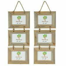 """Wooden Shabby Chic Rustic Driftwood Triple Hanging Photo Picture Frame-6x4"""" x2"""