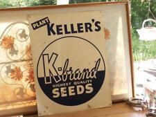 vintage Plant Keller's K-Brand Highest Quality Seeds tin sign ~ Quincy Illinois