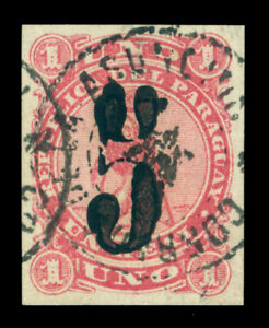 PARAGUAY 1878 LION  Black SURCHARGE handstamp  5c /1r rose Scott # 4 USED  VF