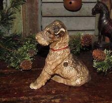Original Antique Vtg Cast Iron Hubley Sitting Fox Terrier Toy Dog Still Bank