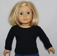 "BLACK LONG SLEEVE TEE SHIRT - Doll Clothes -  fits 18"" American Girl Dolls"