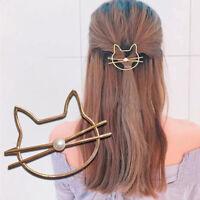 KQ_ DI- KF_ Women Girls Simulation Pearl Cats Hairpin Hair Clip Barrette Accesso