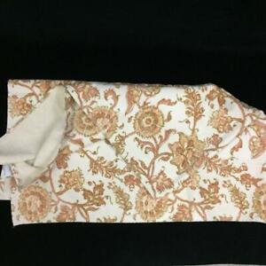 Pottery Barn bath towel orange gold tan floral pattern cotton 28 x 55