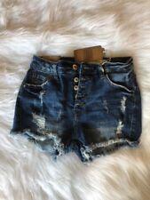 I&M Jeans Womens High Rise Raw Hem Destroyed Denim Jean Short Size S