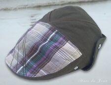 Men's Cotton Canvas Olive Cap  - Plaid Front - One Size