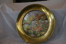Vintage Decorative Brass Wall Plate English Foil Art Country Cottage Scene