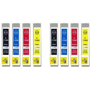 8 Ink Cartridges (Set) for Epson Stylus BX3450, DX4000, DX4050, DX7400, SX200