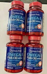 4 X Puritan's Pride Omega-3 Fish Oil 1000 mg (300mg Active Omega-3) 400 Softgels