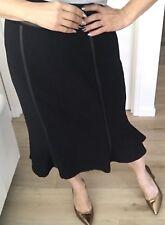 ALEX PERRY WOMENS SKIRT LINED MERMAID ZIP WOOL BLEND Leather MIDI BLACK SZ 14