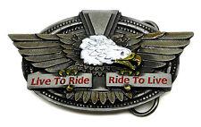 Biker Belt Buckle Live To Ride American Eagle Bike Motorcycle Authentic Bergamot