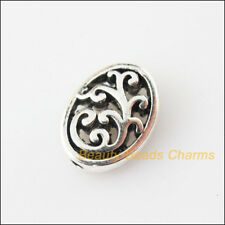 8Pcs Tibetan Silver Tone Oval Flower Flat Spacer Beads Charms 9.5x12.5mm
