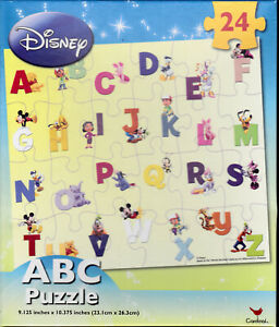 """Jigsaw Puzzle ABC's Alphabet Disney Characters 24 pieces 9"""" x 10"""" S1L"""
