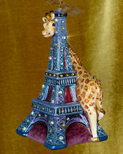 Jay Strongwater Eiffel Tower & Giraffe Ornament Swarovski Elements New with Box