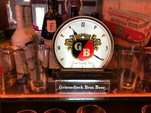 PRISTINE SCARCE: 1950s Griesedieck Bros Beer Lighted Sign  and Clock WORKS!