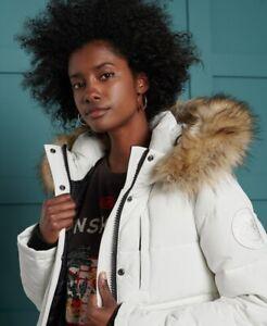 Ladies Superdry Everest Bomber Jacket Ecru Size 12 BNWT RRP £120