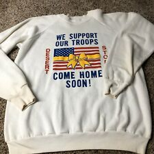 Vintage Desert Storm Sweatshirt XL fruit of the loom white Made In USA L28xW22
