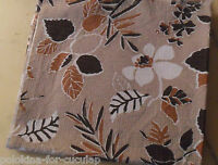 "Vintage 50's Flowers FABRIC 15 1/4"" L x 32 1/2"" W Brown, Beige, Tan, Ivory White"