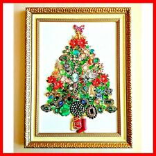 Jewelry Christmas Tree Framed wall art hanging Original collage, Vintage gift