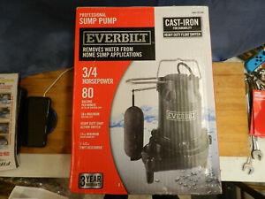 Everbilt HDS75 Professional Sump Pump 3/4HP 80GPM Cast Iron