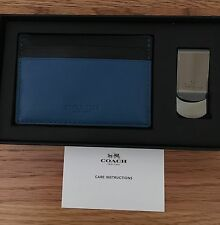 NWT Coach Mens ID Card Case Wallet & Money Clip Set Peacock Navy $75 F75200