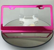 Powder Coated Hot Pink Frame Holder Stainless Steel License Plate Jaguar Tesla