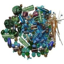 Loose Bead Lot earwires parts kit use as-is or mix match ~ Blues Greens ~