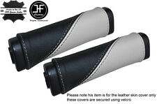BLACK & WHITE LEATHER TWO TONE 2X DOOR HANDLE COVERS FITS HUMMER H2 2003-2007